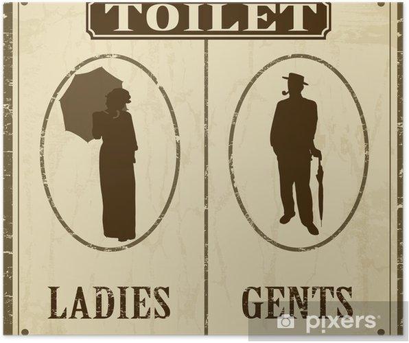 Poster Toalett gammal stil affisch - Grafiska resurser