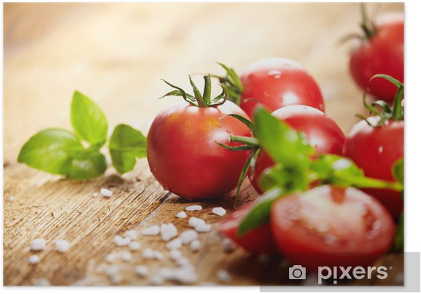 Poster Tomates couché sur la table. Vieux Alimentaire Diet - Thèmes