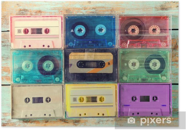Top view (above) shot of retro tape cassette on wood table - vintage color effect styles. Poster - Hobbies and Leisure