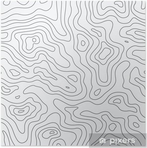 Poster Topografische kaart naadloos patroon. vector achtergrond - Business