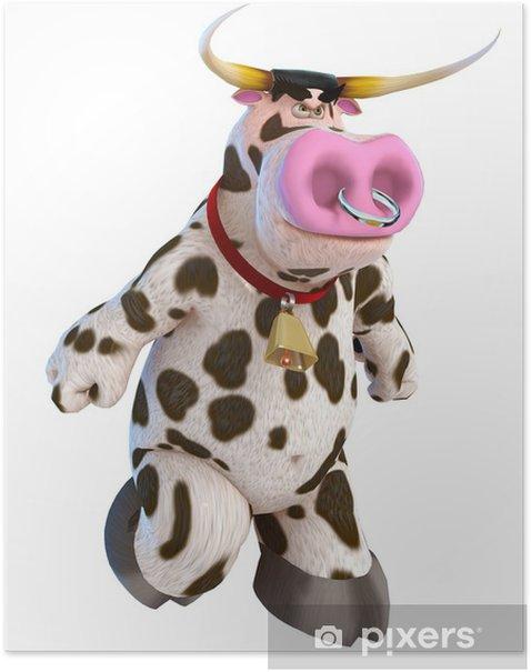 Póster Toro de dibujos animados en toro enojado - Mamíferos