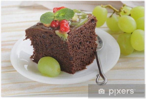 Póster Torta De Brownie De Chocolate Decorado Con Diferentes Frutas