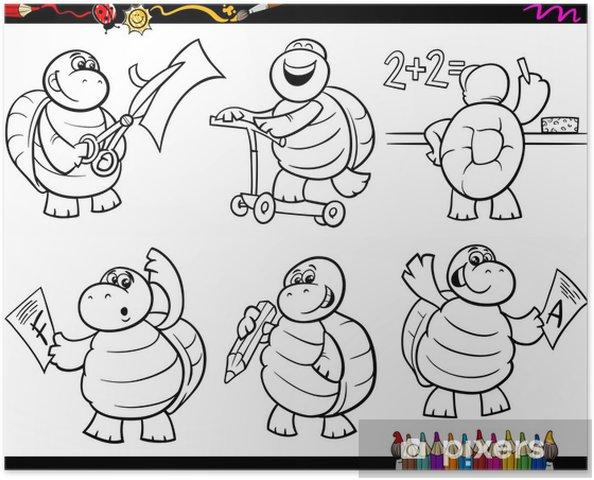 Póster Tortuga De La Escuela Para Colorear De Dibujos Animados Conjunto