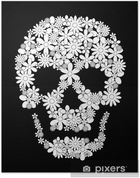 Totenkopf Blumen Grafik Schwarz Weiss Poster Pixers We Live To