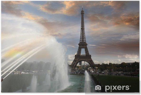Poster Tour Eiffel avec une fontaine à Paris, France - Thèmes