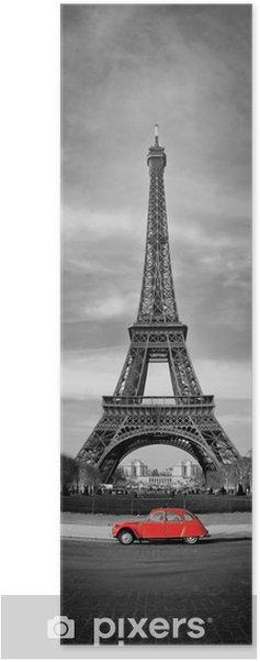 Poster Tour Eiffel et voiture rouge-Parijs - Thema's