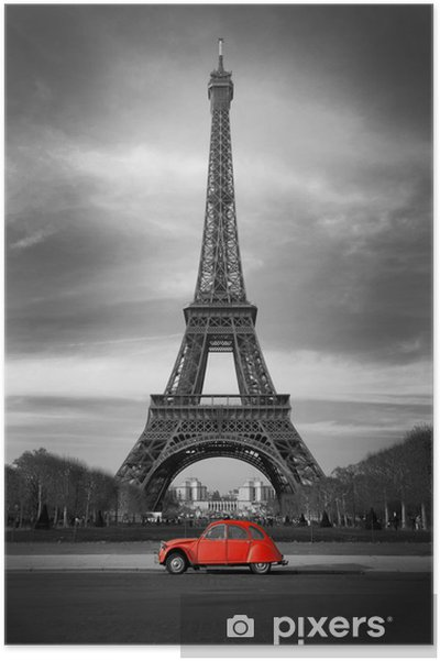 Poster Tour Eiffel et voiture rouge-Parijs - Stijlen