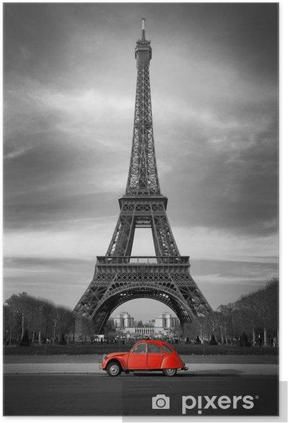 Tour Eiffel et voiture rouge- Paris Poster - Styles