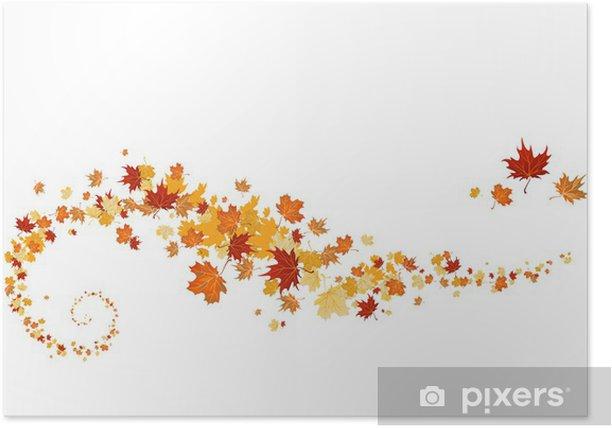 Poster Tourbillon de feuilles d'érable - Saisons