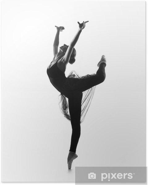 Poster Trace Noir Et Blanc De La Jeune Belle Danseuse De Ballet