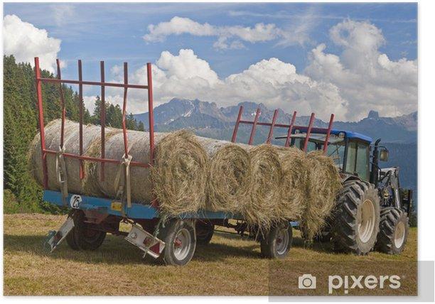 Poster Tracteur avec des balles de foin - Agriculture