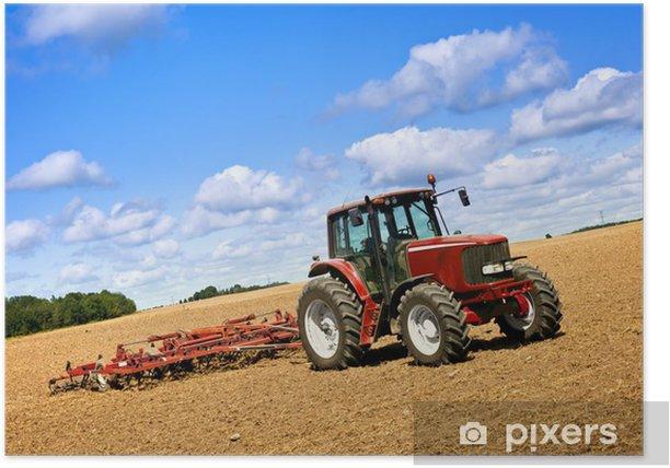Poster Tracteur dans un champ labouré - Thèmes