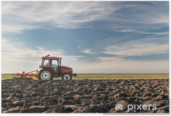 Poster Tracteur labourant le terrain - Agriculture