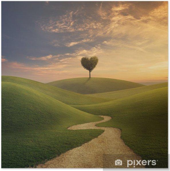Poster Träd hjärta på kullen - Teman