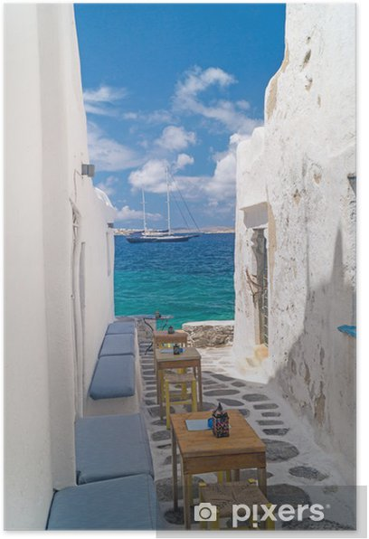 Traditional greek alley on Sifnos island, Greece Poster - Themes