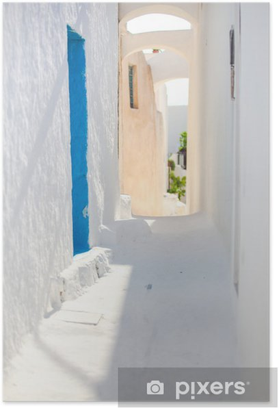 Traditional white empty street at small town in the Greek Poster - Water
