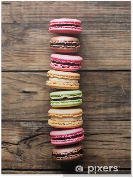 Poster Traditionele Franse kleurrijke macarons - Thema's