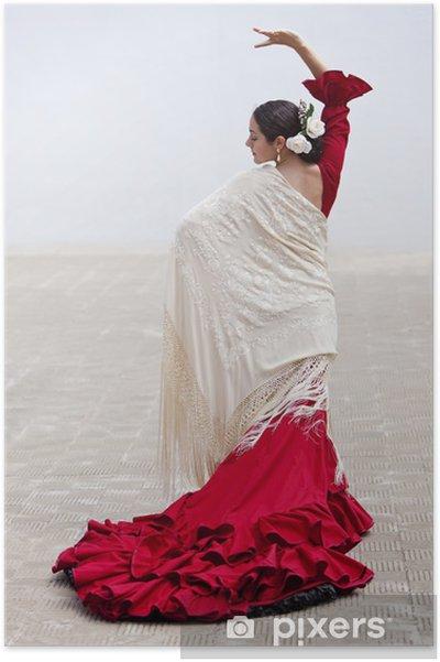 Poster Traditionnel Femme Danseur Espagnol De Flamenco Dans La Robe