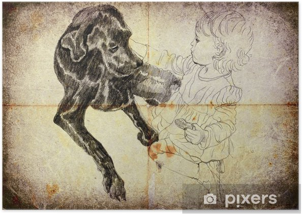 Poster Traitement Vintage Dessin à La Main Petite Fille Et Chien Noir