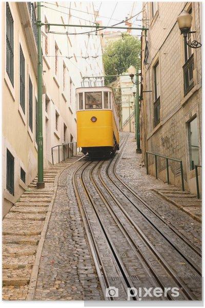 Poster Tram Het beklimmen van een heuvel - Spoorwegen