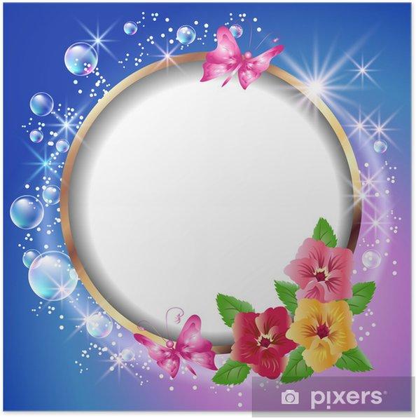 Poster Trame et les fleurs Ronde - Arrière plans