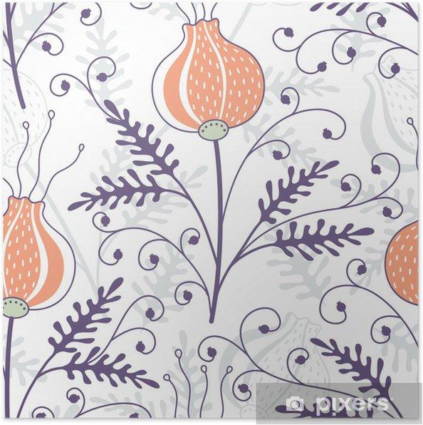 Poster Transparente motif floral - Arrière plans