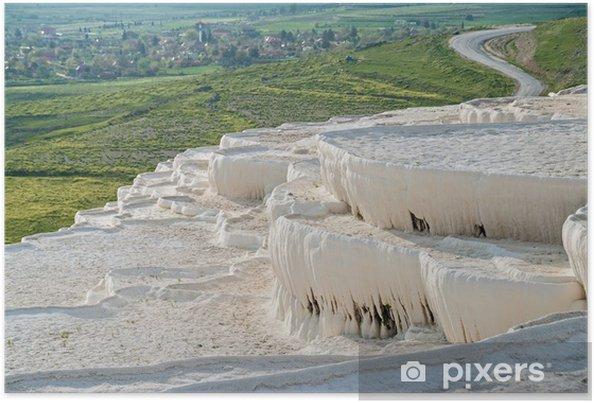 Póster Travertino Piscinas Naturales Y Terrazas En Pamukkale Turquía