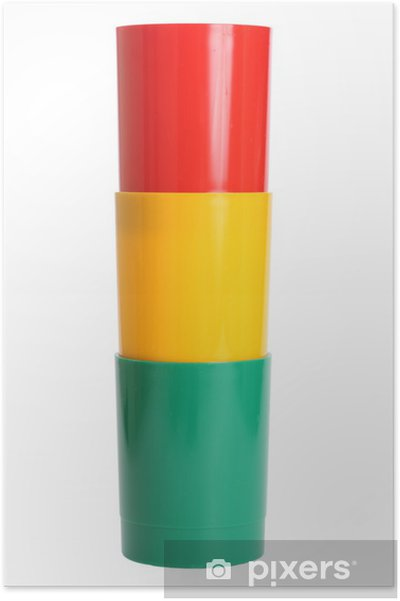 Poster Tre färgade plastglas - Mode