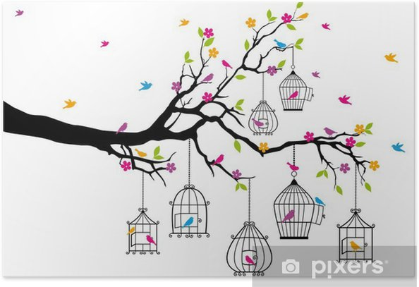 tree with birds and birdcages, vector Poster - Themes