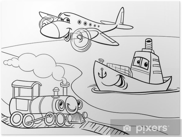 Póster Tren Barco Avión Para Colorear De Dibujos Animados Pixers