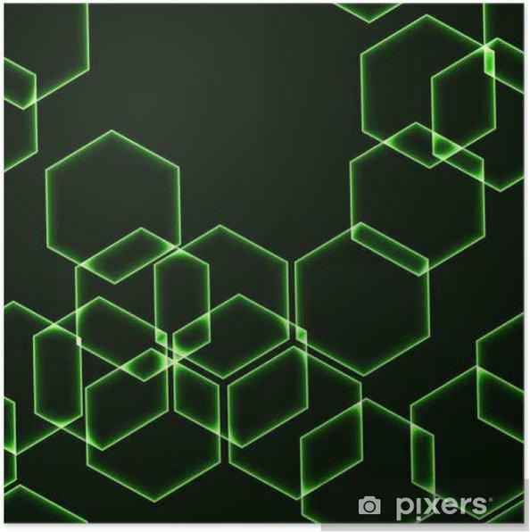 Poster Très seamless foncé avec hexagones vert - Ressources graphiques