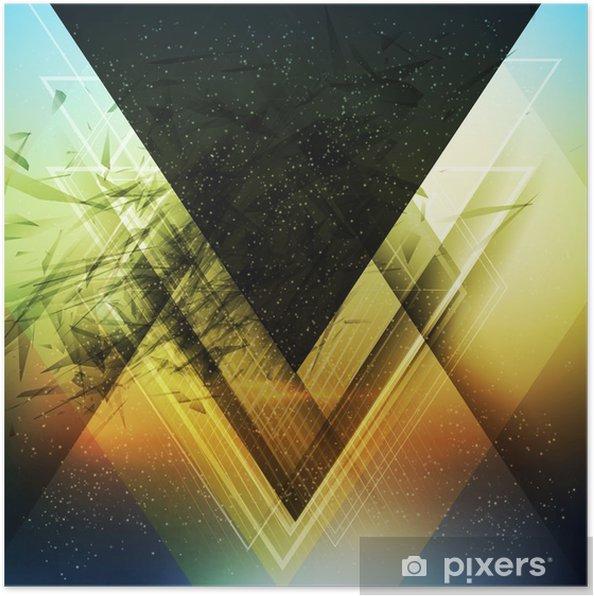 Póster Triángulo de abstracción de vectores de fondo futuro - Negocios