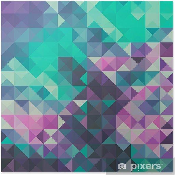 Póster Triángulo de fondo, verde y violeta - Recursos gráficos