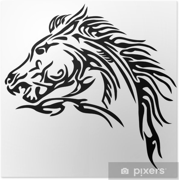 Poster Tribal Paard Tattoo