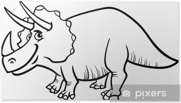 Coloriage Dinosaure Triceratops.Poster Triceratops Coloriage De Dinosaure Pixers Nous Vivons