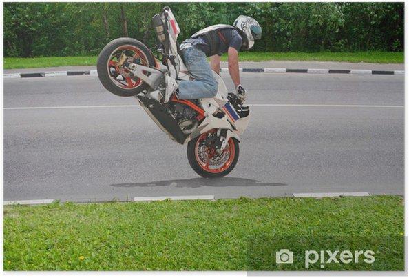 Póster Trick en la motocicleta - Por carretera