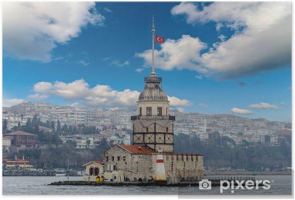 Poster Troebel stad scape Maagden toren Turkse kiz Kulesi shore view - Europa