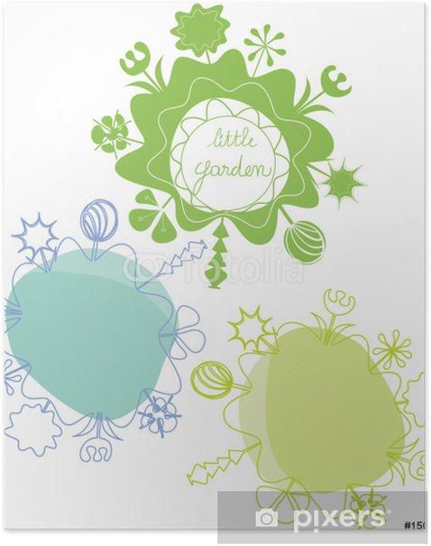Poster Trois petits jardins stylisés - Fleurs