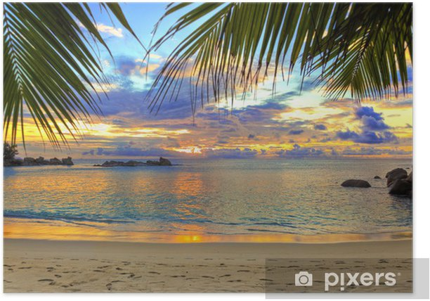 Tropical beach at sunset Poster - Themes