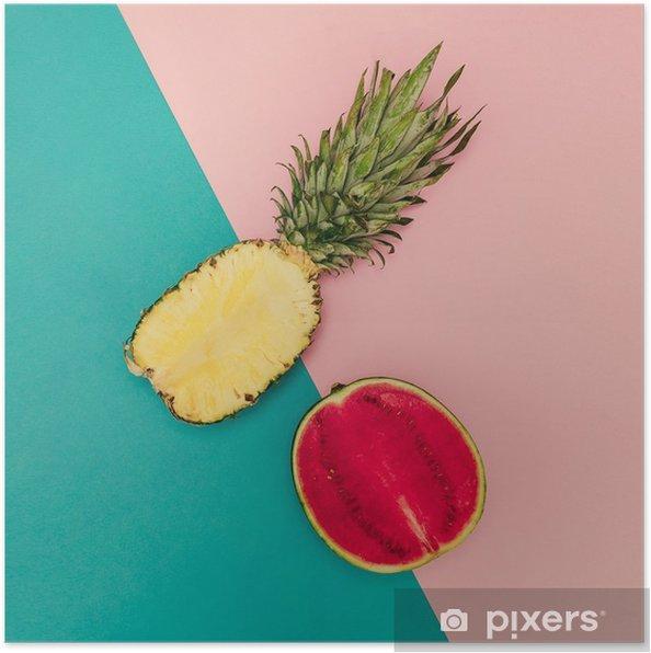 Poster Tropical Mix. Ananas en watermeloen. minimalistische stijl - Levensstijl