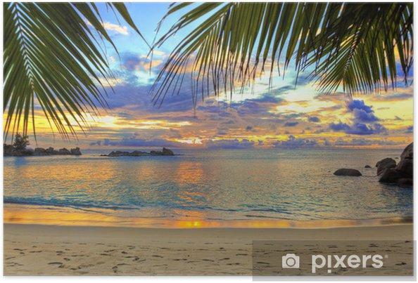 Poster Tropisch strand bij zonsondergang - Thema's