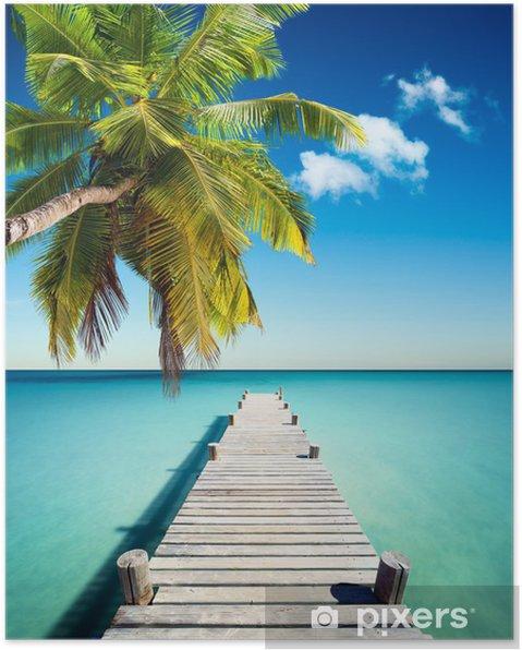 Poster Tropisch strand - Palmbomen