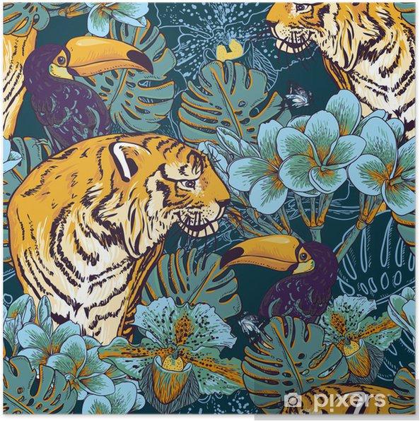 Poster Tropische bloemen naadloze achtergrond met Tiger - Business