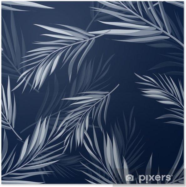 Poster Tropische naadloze zwart-wit blauwe indigo camouflage achtergrond met bladeren en bloemen - Bloemen en Planten