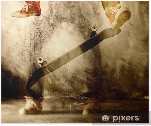 Póster Truco del monopatín en movimiento - Skate