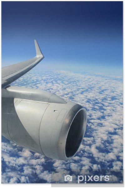 Poster Turbine d'avion aile d'avion volant - Ciel