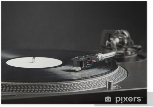 Turntable playing vinyl close up with needle on the record Poster - Music