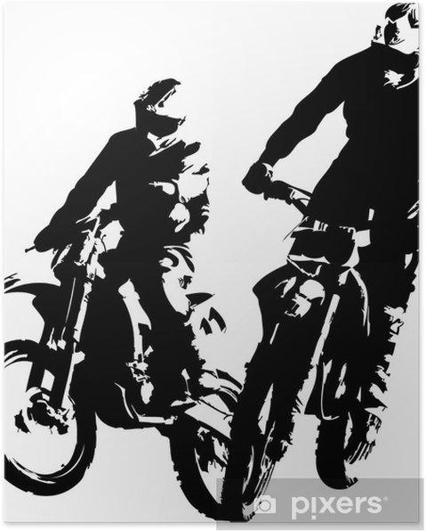 Poster Twee motorcrossers - Individuele sport
