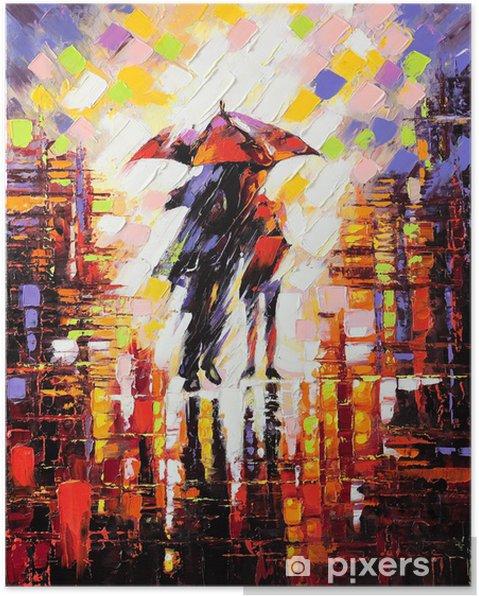 Poster Twee verliefd onder een paraplu -