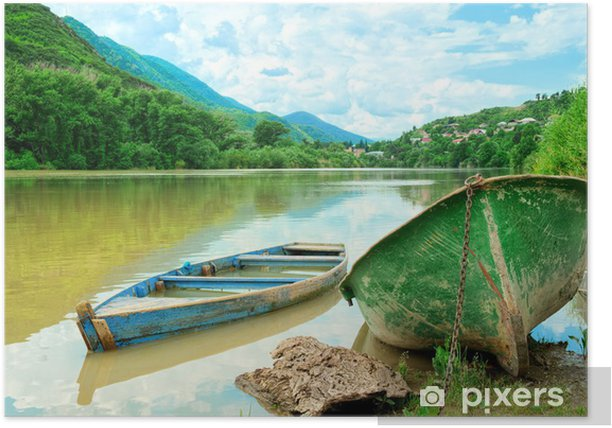 Two boats in river on the picturesque landscape Poster - Themes